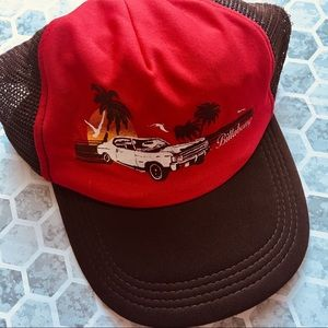 Billabong brown hat with red front, one size